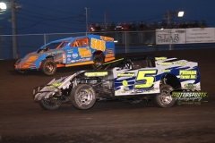 IMCA Modified action at Boone Speedway on Saturday, April 13, 2013.