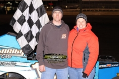 Mod lite driver Andy Hennigar stands in Victory Lane after winning his feature on Saturday, April 13, 2013, at Boone Speedway.