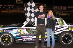 IMCA Hobby Stock driver Austin Luellen celebrated with a win at Boone Speedway on Saturday, April 13, 2013.