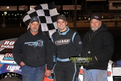 Eric Elliott came out on top in the IMCA Northern SportMod division at Boone Speedway on Saturday, Aril 13, 2013.