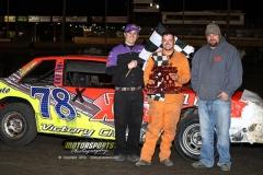 Shannon Anderson motored his way to the front for the win in the IMCA Hobby Stocks at Boone Speedway on Saturday, April 20, 2013.