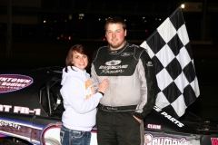 Kyle Brown stands in the IMCA Northern SportMod victory lane at Boone Speedway on Saturday, April 23, 2011.