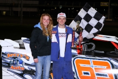 Daniel Tasler took the IMCA SportMod checkers at Boone Speedway on Saturday, April 30, 2011.