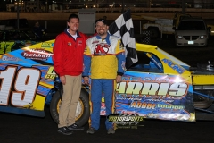 Jimmy Gustin took top spot in the IMCA Modifieds at the 2013 Frostbuster in Boone, Iowa, on Saturday, April 6.
