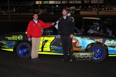 IMCA Hobby Stock driver Trevor Holm led at the checkers to win the 2013 Frostbuster at Boone Speedway on Saturday, April 6.