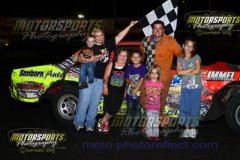 Shannon Anderson motored his IMCA Hobby Stock to the lead by lap four and took home the win at Boone Speedway on Saturday, August 10, 2013.