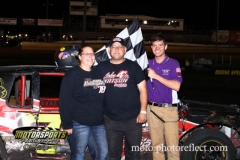 Andrew Burg scored his first win of the season at Boone Speedway, motoring his IMCA Hobby Stock to top position on Saturday, August 17, 2013.