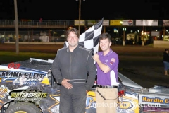 IMCA Modified driver Tyler Prochaska of Iowa Falls captured his first win of the season at Boone Speedway on Saturday, August 17, 2013.