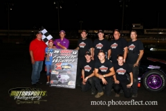 Carl Moyer won the Karl Chevrolet Dirt Truck feature at Boone Speedway on Saturday, August 24, 2013.