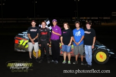IMCA Modified driver Cayden Carter started on the front row, took the lead at the drop of the green and never looked back for his first feature win of the season at Boone Speedway on Saturday, August 24, 2013.