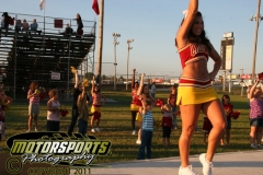 Youngsters have some fun at Boone Speedway on Saturday, August 27, 2011, learning a cheer routine with the Iowa State University cheerleaders.