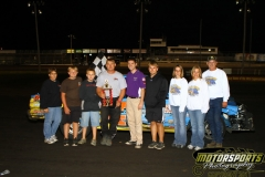 Scott Pippert led the second IMCA Hobby Stock feature to victory lane on Saturday, August 27, 2011, at Boone Speedway.