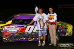 Damon Murty led the IMCA Stock Cars to victory lane on Saturday, August 6, 2011, at Boone Speedway.