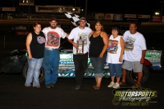 Wayne Gifford battled his way to the front in the IMCA Stock Car division at Boone Speedway on Saturday, July 16, 2011.