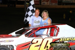 Jeff Stensland stands in victory lane on Saturday, July 2, 2011 at Boone Speedway.