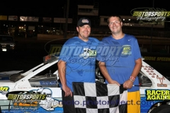 Cory Bushnell returned to the IMCA Stock Car victory lane, his first visit since August of 2012, on Saturday, July 21, 2013, at Boone Speedway.