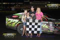 IMCA Modified driver Kelly Lyons led from start to finish for his first feature win of the year at Boone Speedway on Saturday, July 20, 2013.