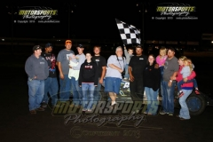 Randy Roberts took the lead early on in the 18-lap IMCA Northern SportMod feature and held on for his third win of the season at Boone Speedway on Saturday, July 27, 2013.