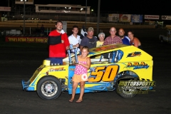 The Boone Speedway Mod Lite division welcomed Joel Huggins to victory lane on Saturday, July 30, 2011.