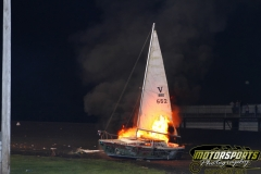 Bon voyage to this sailboat, as it goes up in flames during the Eve of Destruction at Boone Speedway on Monday, July 4, 2011.