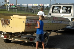 Kids Painting the Trailer Race Cars