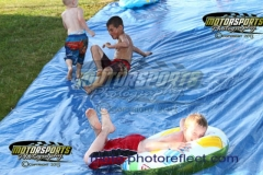 The Redneck Slip'N Slide was a popular activity during the 2013 July 4th Holiday Eve of Destruction at Boone Speedway.