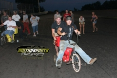 In a race fit for a king, the toilet bowl drivers charge to victory lane during fan appreciation night at Boone Speedway on Saturday, July 6, 2013.