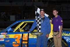 Ty Hill grabbed the lead immediately from his outside pole starting spot on Saturday, July 6, 2013, taking home the win in the IMCA Stock Cars at Boone Speedway.