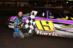 Jay Schmidt was able to pull off the pass out of corner three on the run to the checkers, sealing the win in his IMCA Stock Car on Saturday, June 1, 2013, at Boone Speedway.
