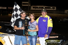 Jake Durbin stands in the IMCA Modified Victory Lane at Boone Speedway on Saturday, June 11, 2011.