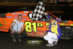 Scott Davis led the field to the checkers in the IMCA Northern SportMod division at Boone Speedway on Saturday, June 11, 2011.