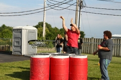 Players take aim during the finals event of Boone's Giant Beer Pong competition on Saturday, June 15, 2013.