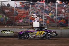Jay Schmidt took the lead on lap 12 and held on for the finish in his IMCA Stock Car on Saturday, June 15, 2013, at Boone Speedway.