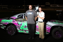 Josh Daniels led all but the first lap of the IMCA Stock Car feature for his first win of the season at Boone Speedway on Saturday, June 22, 2013.
