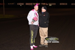 Clint Luellen crossed the finish line first to become the #1 Diva at Boone Speedway on Saturday. May 11, 2013. Luellen and nine other drivers showed what good sports they are as they entertained the crowd in a foot race wearing pink high heels.