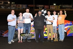 Bruce Egeland earned his first career victory in his IMCA Northern SportMod on Saturday, May 18, 2013, at Boone Speedway.
