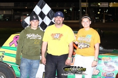 IMCA Hobby Stock driver Curt Reed took the lead after a caution with only two laps to go, scoring his first win of the season at Boone Speedway on Saturday, May 18, 2013.