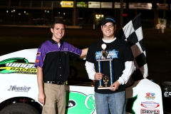 The IMCA SportMod victory lane was reserved for Geoff Olson on Saturday, May 28, 2011.