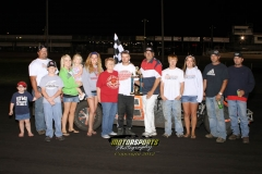 Darren Huntley led past the half-way mark to take the checkers in the IMCA SportMods at Boone Speedway on Monday, May 28, 2012.