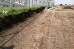 Work progresses on the new front stretch wall on Monday, May 9, 2011 at Boone Speedway.
