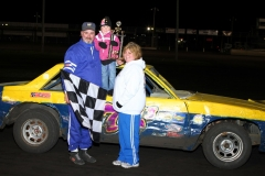 Dean Hartwig in Victory Lane on Saturday, April 16, 2011, at Boone Speedway