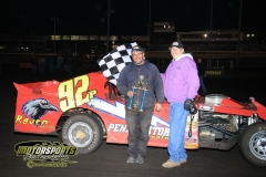 The IMCA SportMod division welcomed Mike Pruitt to victory lane on Saturday, April 28, 2012, at Boone Speedway.