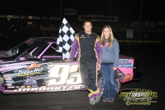 Michael Jeannette motored his way to the front of the pack in the IMCA Stock Car division at Boone Speedway on Saturday, April 28, 2012.