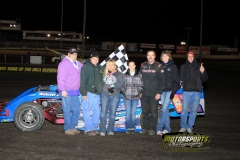Mark Elliott made the trip the IMCA Modified victory lane during the 2012 Frostbuster at Boone Speedway on Saturday, April 7, 2012.