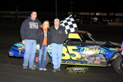 Donavon Smith took the checkers in the IMCA Stock Car division at the Boone Speedway Frostbuster on Saturday, April 7, 2012