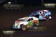 Mod lite action at Boone Speedway on Saturday, August 3, 2013.