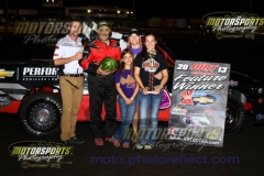 Bret Moyer secured his name in the record books as taking the first ever Dirt Truck race at the Boone Speedway, on Saturday, August 3, 2013. His brother Brad settled for second.