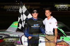 Mike Goldsberry took the lead after a caution on lap fourteen and went on to victory lane in his IMCA Stock Car on Saturday, August 3, 2013 at Boone Speedway.