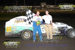 IMCA Modified driver Russ Dickerson captured his first feature win of the season at Boone Speedway on Saturday, August 3, 2013.
