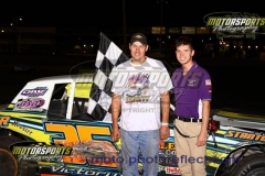 IMCA Stock Car driver Donavon Smith took the lead at lap 14 and held on for the win on Saturday, June 13, 2013, at Boone Speedway.